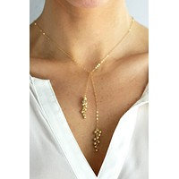 Gold Dust Tie Lariat - Christine Elizabeth Jewelry