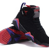 New Nike Air Jordan 7 VII Retro Kids Shoes Black Red Purple