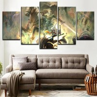 Wall Art Modular Pictures Home Decor Living Room 5 Pieces Game Poster Epona Link Midna Zelda Canvas Print Painting Framework