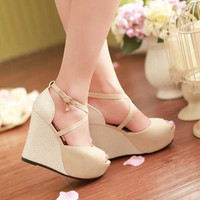 Ladies Wedge Sandals Party Shoes Peep Toe Cross Strap High Heels Fashion Roman Sandals Thick Platform Sandals Newest Alternative Measures