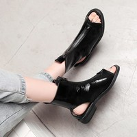 Women Casual Patent Leather Open Toe Front Zipper Ankle Sandals