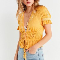 UO Marissa Embroidered Tie-Front Top | Urban Outfitters