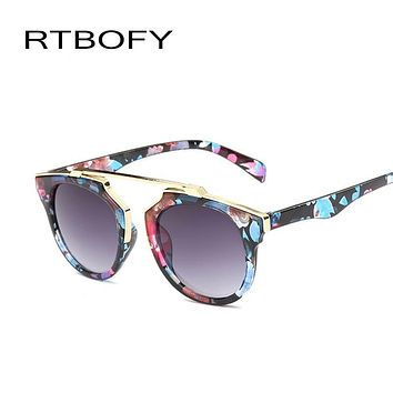 2017 New Fashion Sunglasses Women Cat Eye Famous Brand Designer Sunglasses Butterfly Alloy Coating Mirror Glasses Oculos UV400
