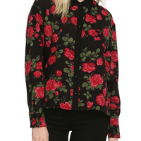 Red & Black Floral Challis Top