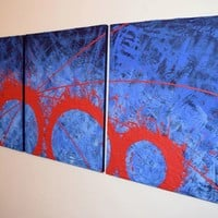 "ARTFINDER: triptych 3 panel wall art colorful images ""Blue Matter"" 3 panel canvas wall abstract canvas pop abstraction 48 x 20 "" other sizes available by Stuart Wright - ""Blue Matter""