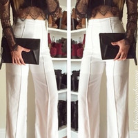 Wide Stride High Waist Pants - White