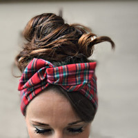 Red Plaid dolly bow head band, Dollybow Head Band