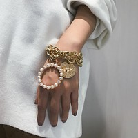 Women's Pearl And Crab Link Chain Bracelet