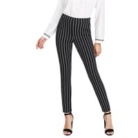 Vertical Striped Skinny Mid Waist Long Pencil Women Pants Elastic Waist Pocket OL Style Work Trousers