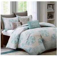 Mirna Turquoise and Grey Bedding Set