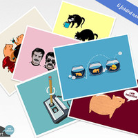 Cute Assorted Notecard Set - 6 assorted folded greeting cards with envelopes. Blank inside for any occasion.