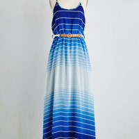 Long Spaghetti Straps Maxi Colorful Combo Dress in Sapphire by ModCloth