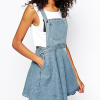 Denim Pocket Front Straps A-Line Dress