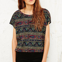 Truly Madly Deeply Paisley and Waves Tee in Green - Urban Outfitters