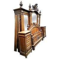 French Bedroom Set, Louis XVI Rocaille Style Walnut, 19th Century