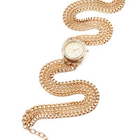 FOREVER 21 Wrap-Chain Chronograph Watch Gold One