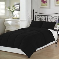 Black Twin Extra-Long Down Alternative Comforter Set, By Ivy Union, Twin XL