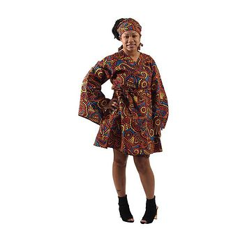 African Print Wrap Dress With Headwrap
