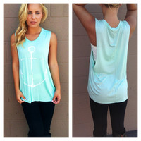 Mint Anchor Muscle Tank