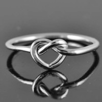 love knot ring, heart knot ring, infinity ring, heart ring, sterling silver ring, infinity heart ring