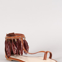 Feather Trim Toe Strap Flat Sandal