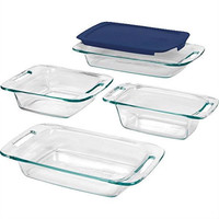 5-Piece Glass Bakeware Cookware Food Storage Set with Blue Plastic Lids