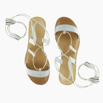 Tulum Wrap Around Tie Sandals - Ivory White