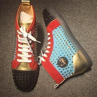 Christian Louboutin CL Louis Spikes Style #1877 Sneakers Fashion Shoes Online