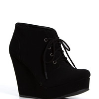 Soda Shoes Favor Lace Up Wedge Booties FAVOR-S-BLK
