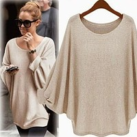 Scoop Pure Color Bat-wing Sleeves Loose Blouse
