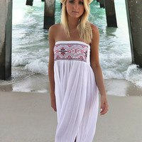 Kaanapali High Slit Embroidered Tube Top White Dress