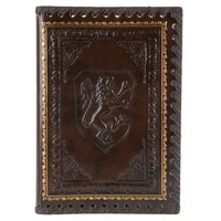 """Eccolo Lions Refillable Leather Journal with Embossed Lion Crest, Gold Edge Sheets, Lined, 6x8"""""""