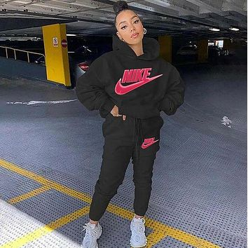 NIKE Fashion Casual Print Hoodie Top Sweater Pants Trousers Set Two-piece