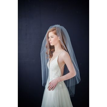 Illusion tulle bridal veil with blusher