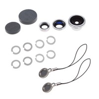 [2015 New Model Fish Eye Lens] Fish Eye Lens Wide Macro Lens for Apple iPad iPhone 4 and Camera Phones with Special Rings NOT Cover the Camera Flash