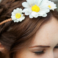 Daisy Crown Tie-Back Headwrap