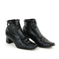 Vintage Black Faux Leather Slip On Motorcycle Ankle Boots / Size US 6.5 EU 36.5