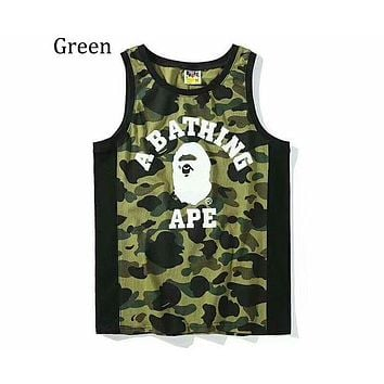 Bape Contrast Military Style Camouflage Trends Sleeveless Sweat Vest T-Shirt F-AG-CLWM green