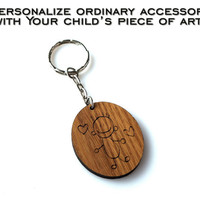 Your Child's Art Personalized Sketch Keychain Child's Drawing Engraved Kid Art Handwriting Gift for Grandparents Mothers Day Fathers Day