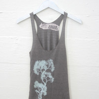 Mint Tree on Cocoa Tri-Blend Racerback Tank Top hand printed by Blonde Peacock