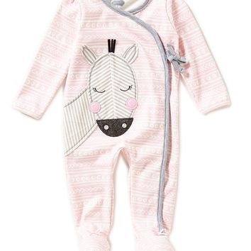 Mud Pie Baby Girls 3-9 Months Zebra-Appliqued Mixed-Print Footed Coveralls   Dillards