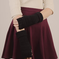 Ribbed Knit Arm Warmers - Black