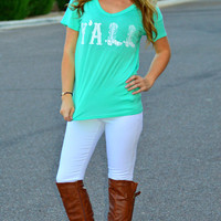 Y'ALL V NECK TEE IN MINT
