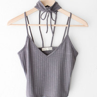 Knit Ribbed V-neck Choker Crop Top - Charcoal