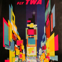 Visit New York City Times Square TWA Airlines Poster/Print Art Deco