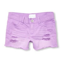 Girls Destructed Colored Denim Shorts | The Children's Place