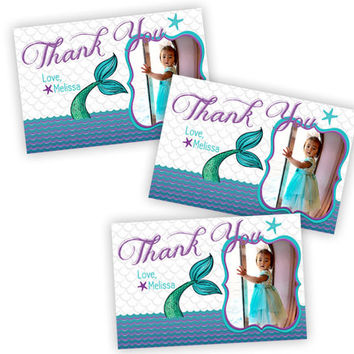Mermaid Birthday Thank You Cards - Photo Under The  Sea Party Favor Tags - Nautical Aqua Purple Mermaid Party - Party Tags - Scales Tail