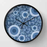 Blue bubbles Wall Clock by Tony Vazquez