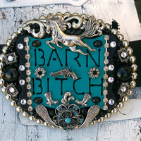 Horse Cowgirl Bling Western Rodeo Belt Buckle