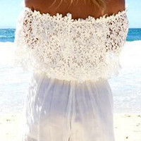 White Cut Out Slash Collar Lace Romper